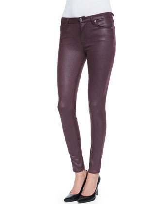 Leather-Like Skinny Pants, Burgundy Crackle