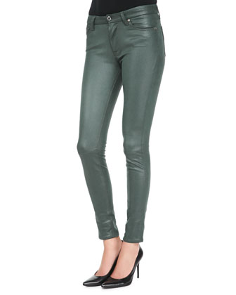 Leather-Like Waxy Skinny Jeans, Forest Green Crackle