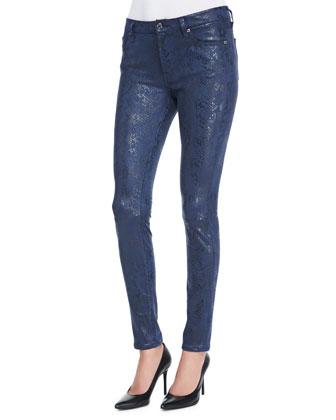 Snake-Print Coated Skinny Jeans, Navy