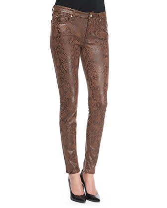 Snake-Print Coated Skinny Jeans, Chocolate