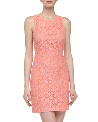 Sleeveless Racerback Lace Cocktail Dress, Coral
