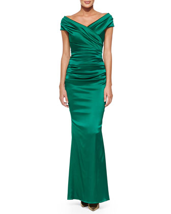 Off-Shoulder Ruched Mermaid Gown