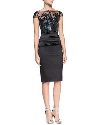 Illusion Sequined-Bodice Cocktail Dress