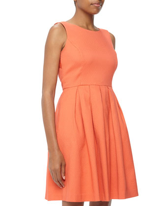 Pique Knit Cutout Fit-And-Flare Dress, Coral