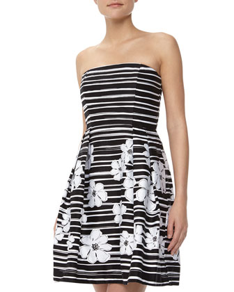 Strapless Striped Floral Print Dress, Black/White
