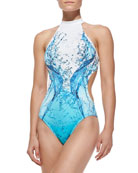 Splash-Print Cutout One-Piece Swimsuit