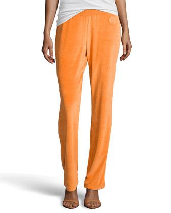Egzona Velour Jersey Pants, Orange
