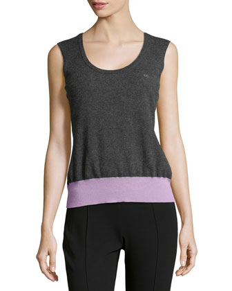 Silane Colorblock Wool Shell, Charcoal/Lilac
