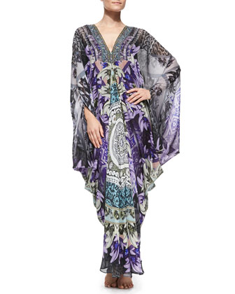 Beaded Printed Maxi Caftan Coverup