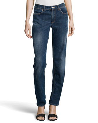 Embroidered-Pocket Straight-Leg Jeans, Medium Blue