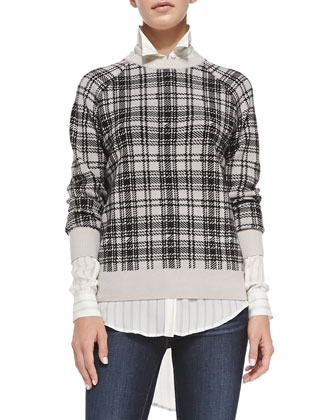 Wool Plaid Sweater & The CTA Silk Stripe Blouse