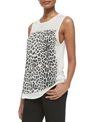 Cropped Goat Fur & Leather Vest & Leopard-Print Slub Muscle Tank