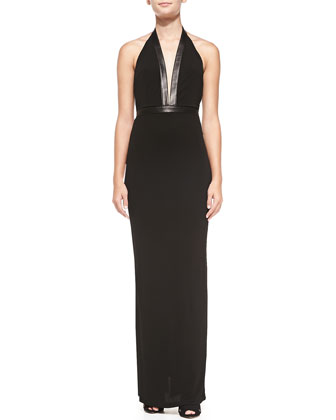 Matte Jersey Leather-Trim Halter Gown