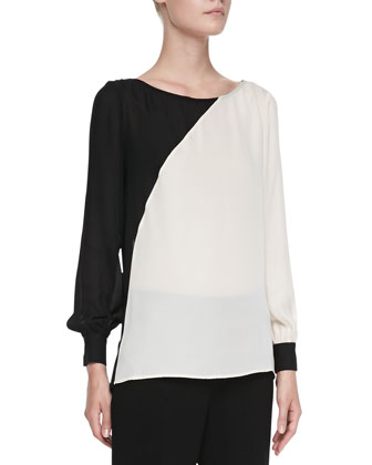 Two-Tone Diagonal Silk Blouse