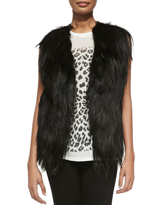 Cropped Goat Fur & Leather Vest & Leopard-Print Slub Muscle Tank