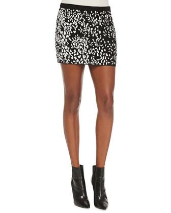 Crewneck Leopard Pullover Sweater & Embellished Cheetah Mini Skirt
