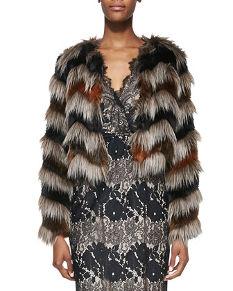 Faux-Fur Long-Sleeve Chubby Jacket & Sleeveless Floral-Lace Maxi Dress