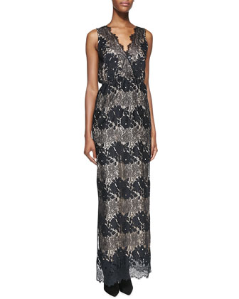 Sleeveless Floral-Lace Maxi Dress