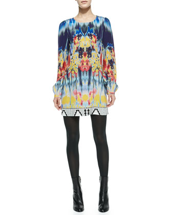 Printed Long-Sleeve Silk Mini Dress