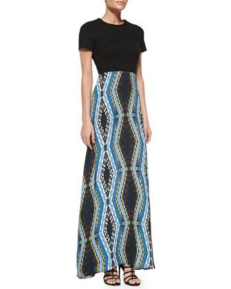 Scuba-Top Combo Maxi Dress