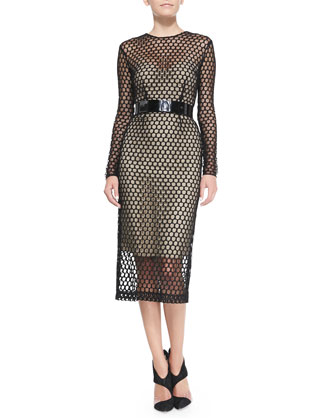 Long-Sleeve Net Lace Midi Cocktail Dress