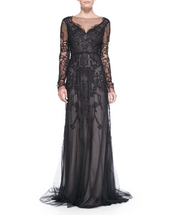 Long-Sleeve Embroidered Lace Gown