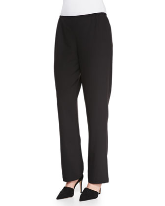 Travel Gabardine Straight-Leg Pants