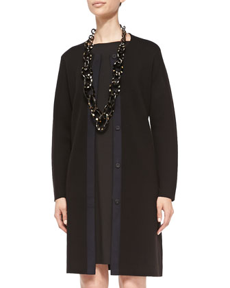 Washable Wool Long Snap Jacket & Long-Sleeve A-line Jersey Dress