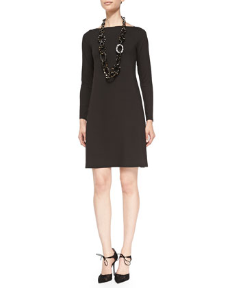 Long-Sleeve A-line Jersey Dress, Women's