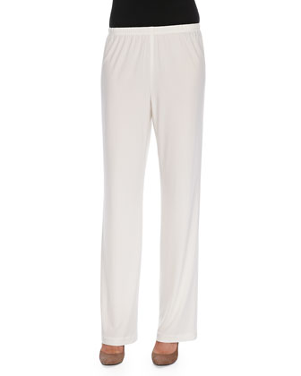 Stretch-Knit Straight-Leg Pants, White