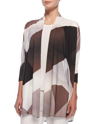Geo Graphic Cardigan, Stretch-Knit Long Tank & Straight-Leg Pants