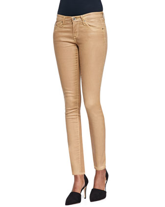 Faux-Leather Skinny-Leg Jeans