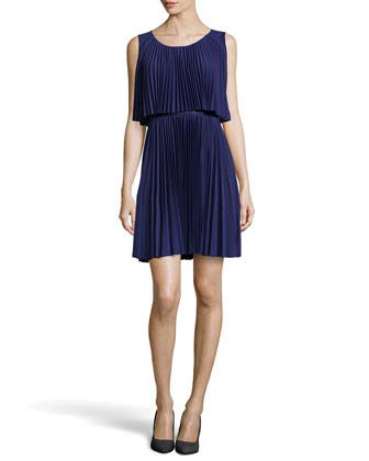Scoop-Neck Plisse Cocktail Dress, Astral Blue