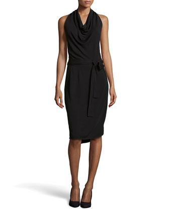 Cowl-Neck Halter Cocktail Dress, Black