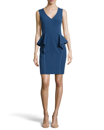 V-Neck Peplum Cocktail Dress, China Blue