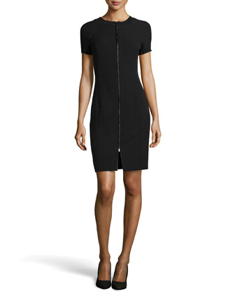 Zip-Front Short-Sleeve Dress, Black