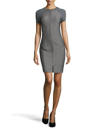 Zip-Front Short-Sleeve Dress, Heather Gray