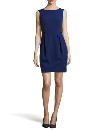 Front-Pleat Sleeveless Dress