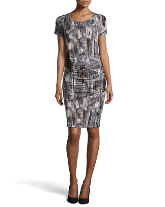 Brushstroke Print Ruched Jersey Dress