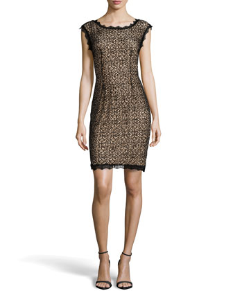 Sequin Lace Sheath Dress, Black