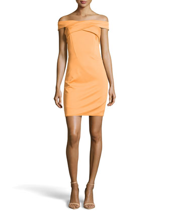 Off-The-Shoulder Crisscross Ponte Dress, Apricot