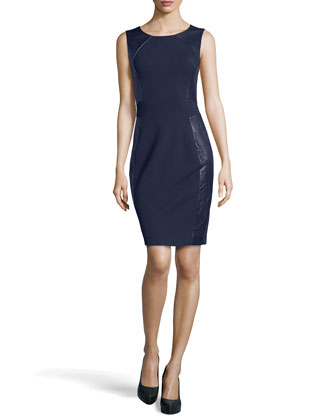 Sleeveless Leather-Panel Knit Dress, Navy