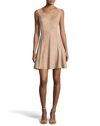 Paneled Ultrasuede?? Fit-And-Flare Dress, Camel