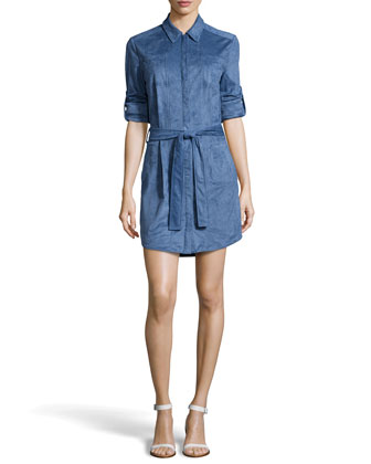 Ultrasuede&#174 Belted Shirtdress, China Blue