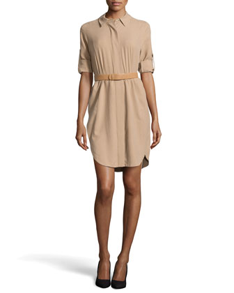 Long-Sleeve Belted Silk Shirtdress, Camel