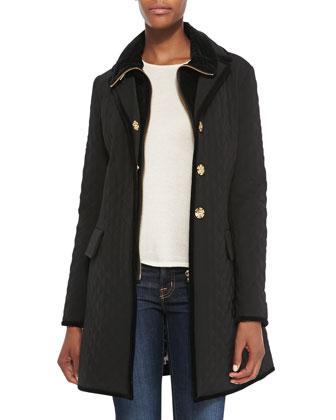 Quilted Velvet-Trim Boyfriend Rain Coat