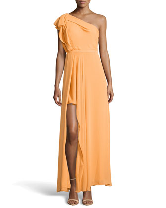 One-Shoulder Drape Gown, Apricot