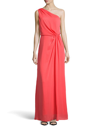 One-Shoulder Charmeuse Evening Gown