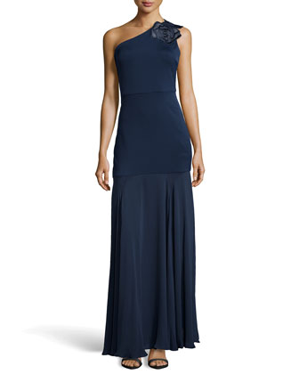 Ponte One-Shoulder Evening Gown, Navy
