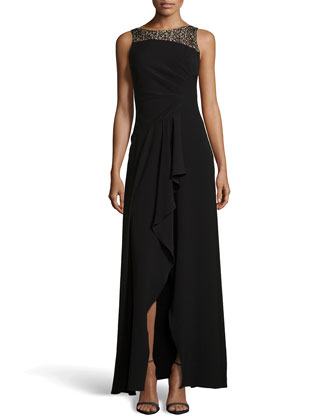 Sequined-Neck Crepe Gown, Black